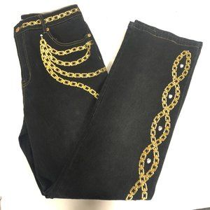 DG2 Black Embroidered Straight Jeans Size 10